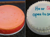 Baby Announcement Cheesecake dyed pink